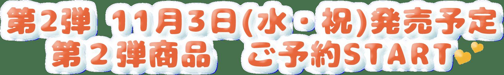 第2弾 11月3日(水・祝)発売予定 第二弾商品 ご予約START💕